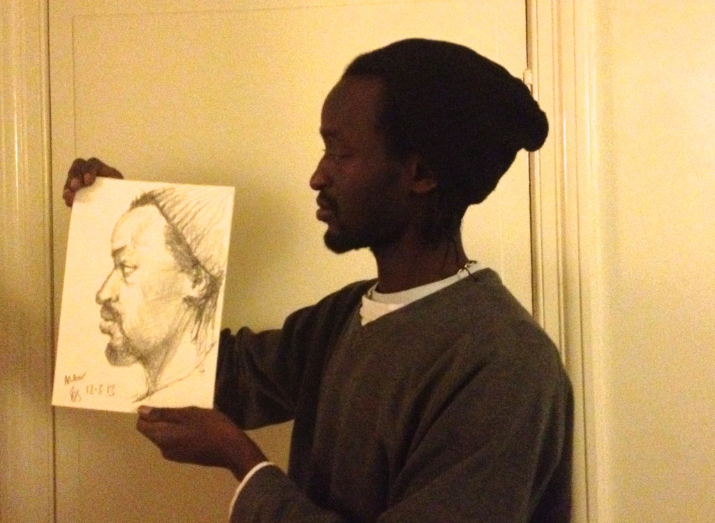 Mbor and my drawing of him, 2013